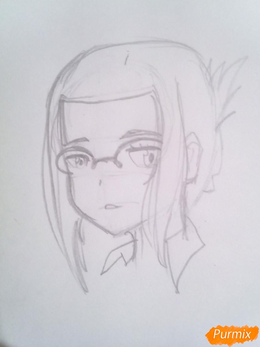 Рисуем Икуно из аниме Милый Во Франксе карандашами - шаг 3