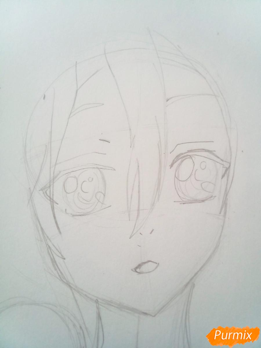 Рисуем портрет Инори Юдзуриха цветными карандашами - шаг 2