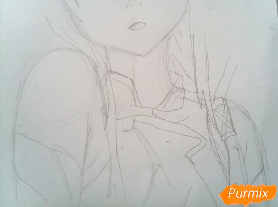 Рисуем портрет Инори Юдзуриха цветными карандашами - шаг 3