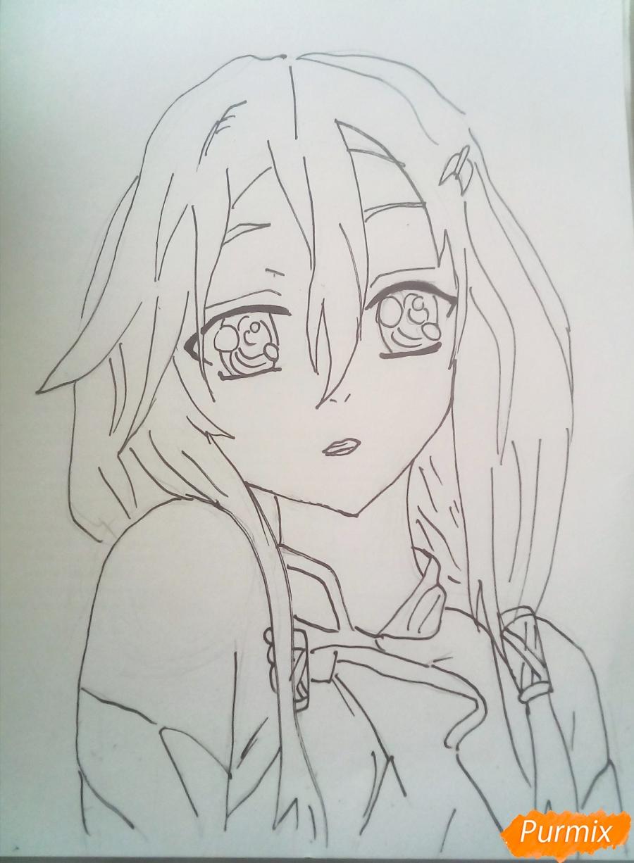 Рисуем портрет Инори Юдзуриха цветными карандашами - шаг 5