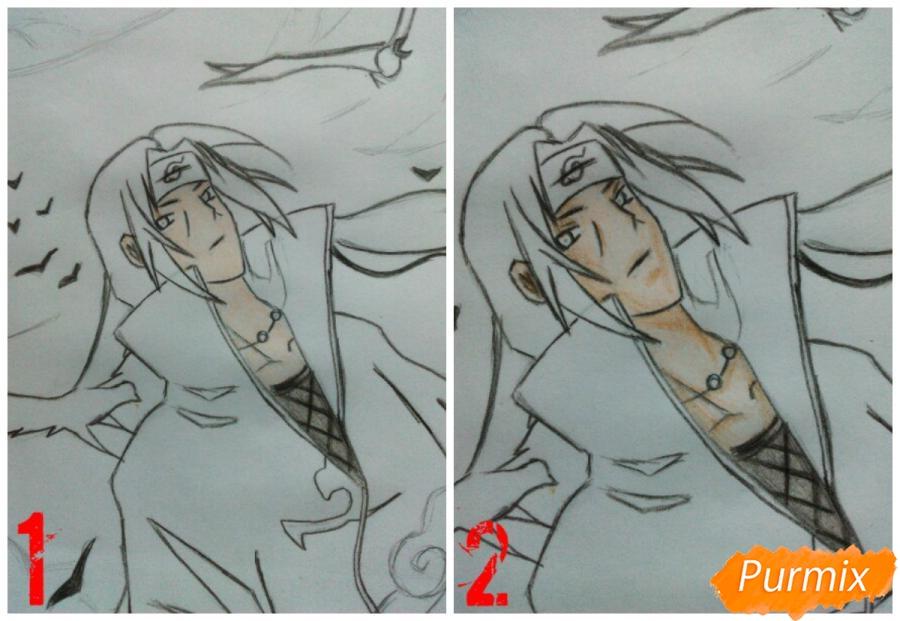 Рисуем Итачи Учиху цветными карандашами - шаг 10