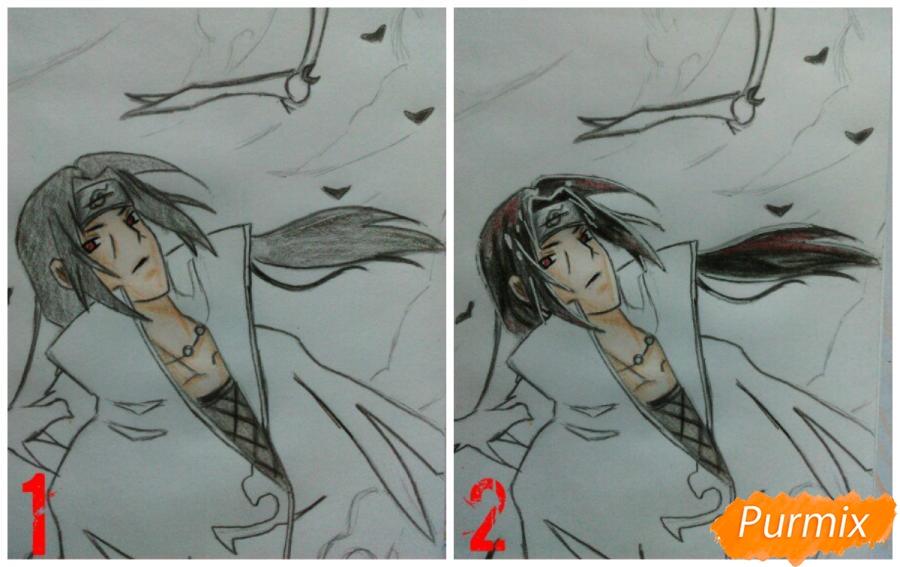 Рисуем Итачи Учиху цветными карандашами - шаг 11