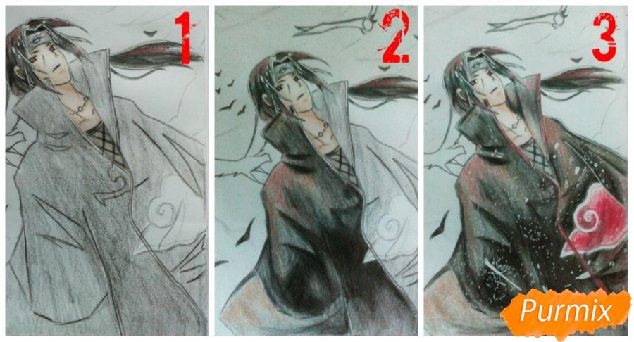 Рисуем Итачи Учиху цветными карандашами - шаг 12