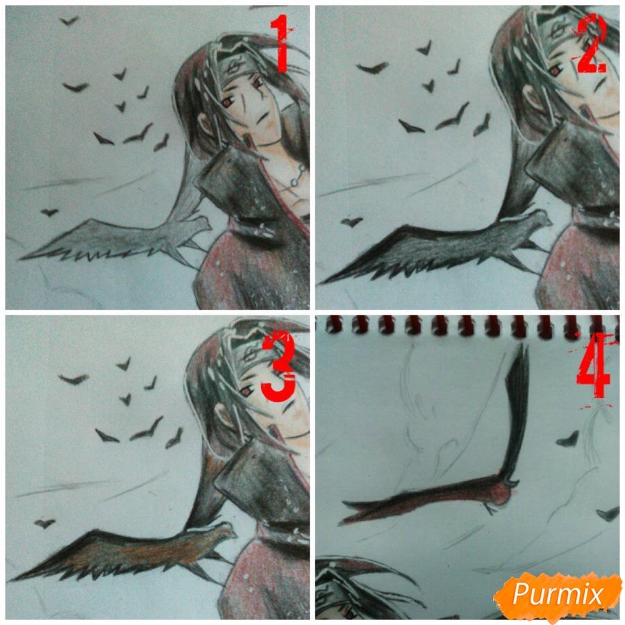 Рисуем Итачи Учиху цветными карандашами - шаг 13