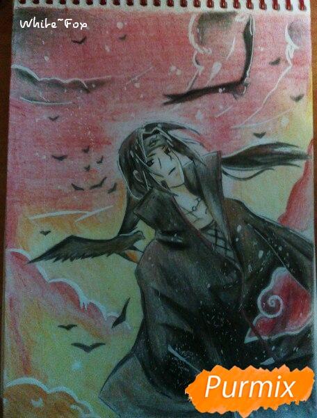Рисуем Итачи Учиху цветными карандашами - шаг 14
