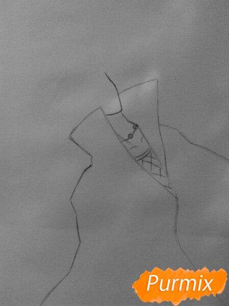 Рисуем Итачи Учиху цветными карандашами - шаг 2