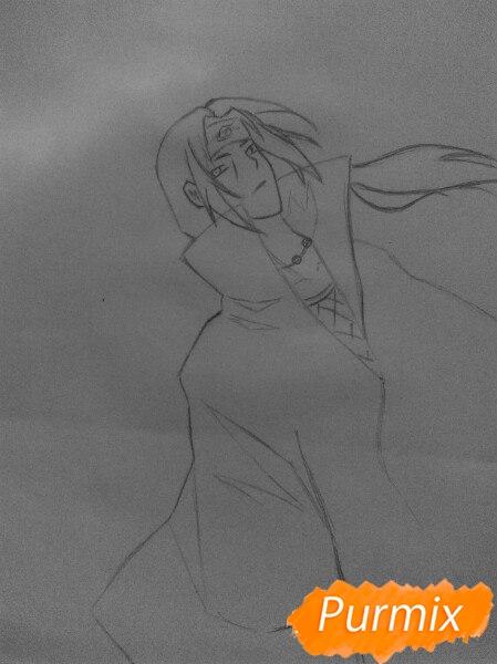 Рисуем Итачи Учиху цветными карандашами - шаг 5