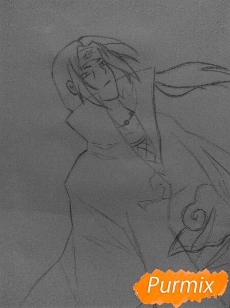 Рисуем Итачи Учиху цветными карандашами - шаг 6