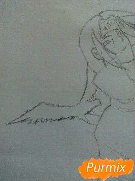 Рисуем Итачи Учиху цветными карандашами - шаг 7
