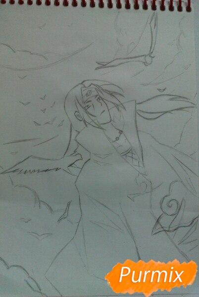 Рисуем Итачи Учиху цветными карандашами - шаг 8