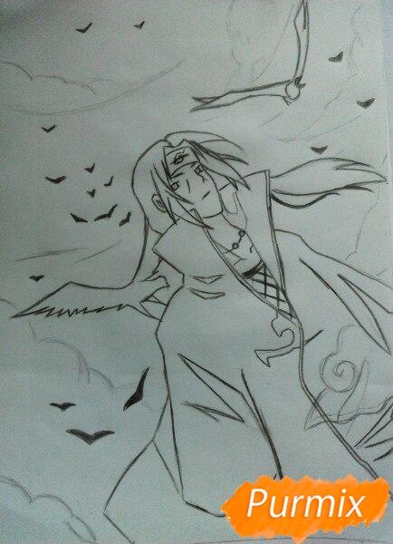 Рисуем Итачи Учиху цветными карандашами - шаг 9