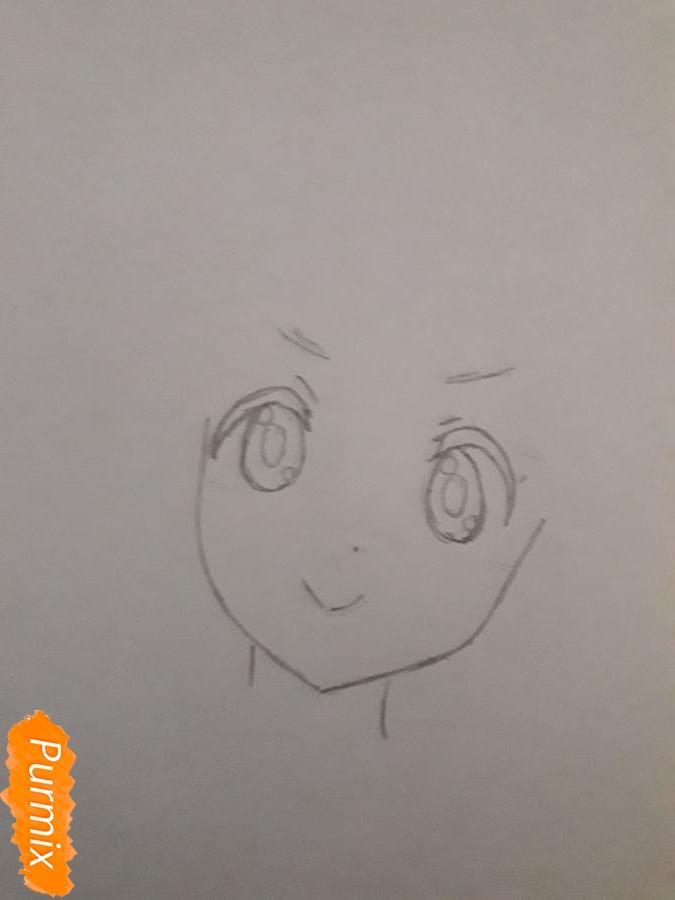 Рисуем Ию Хирасаву в новогоднем стиле - шаг 2