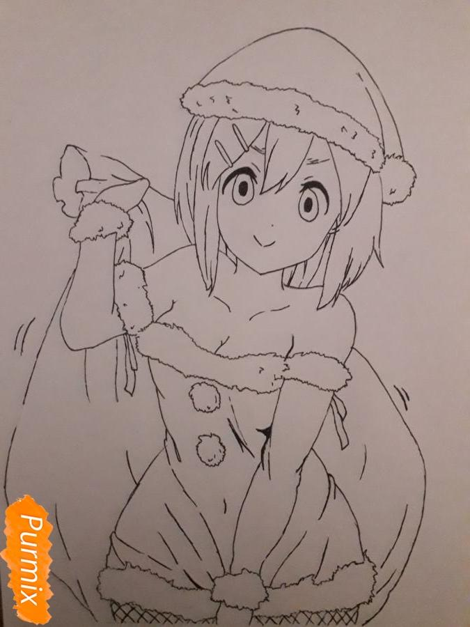 Рисуем Ию Хирасаву в новогоднем стиле - шаг 7