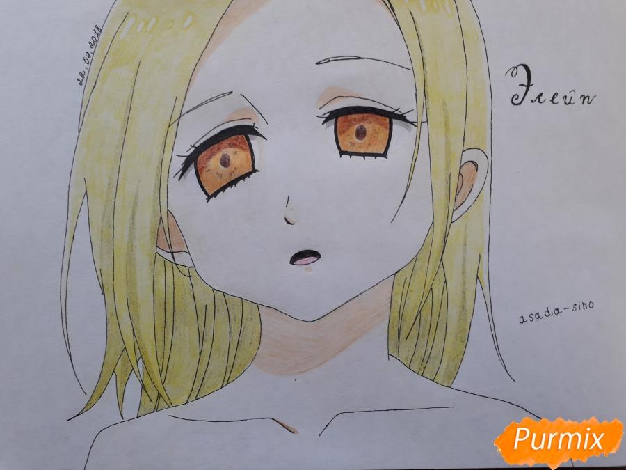 Как нарисовать Элейн из аниме Семь смертных грехов поэтапно