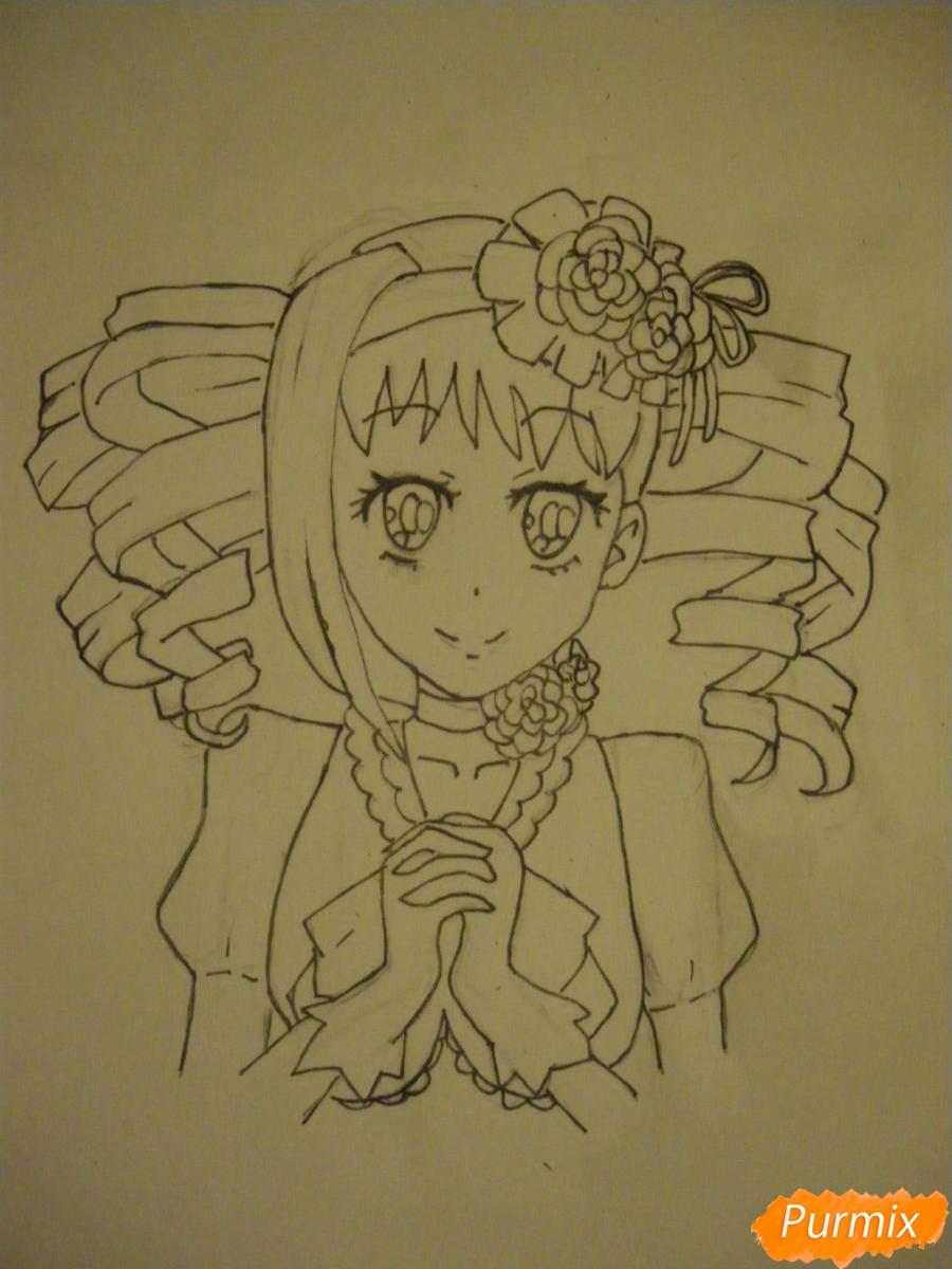 Рисуем Элизабет из аниме Тёмный Дворецкий цветными карандашами - фото 6