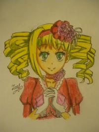 Элизабет из Тёмного Дворецкого карандашами