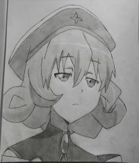 Рисунок Эмерду из аниме Сатана на подработке