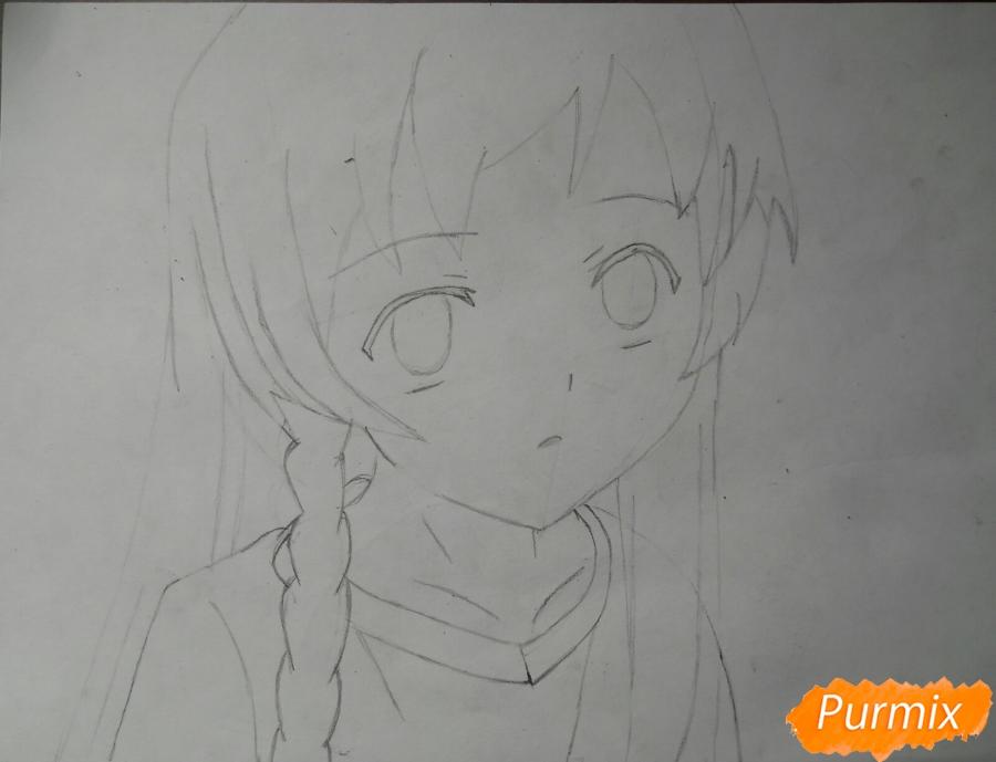 Рисуем Эмилию из аниме Сатана на подработке - шаг 4