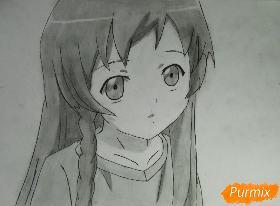 Как нарисовать Эмилию из аниме Сатана на подработке карандашом поэтапно