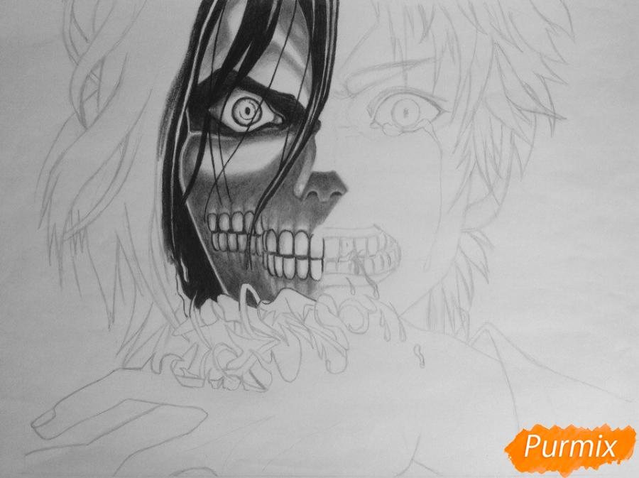 Рисуем Эрена Йегера из аниме Атака Титанов - шаг 5