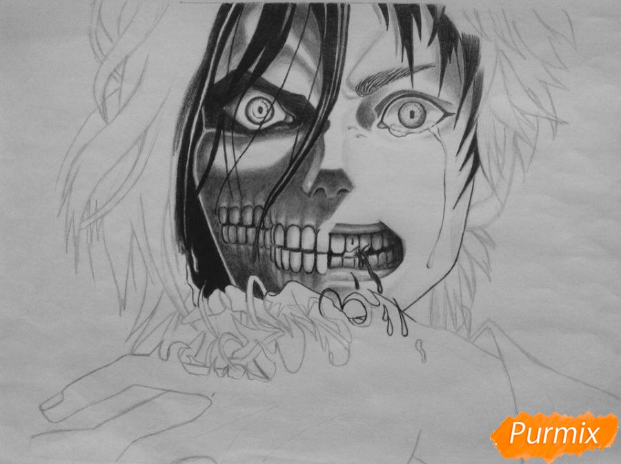 Рисуем Эрена Йегера из аниме Атака Титанов - шаг 6