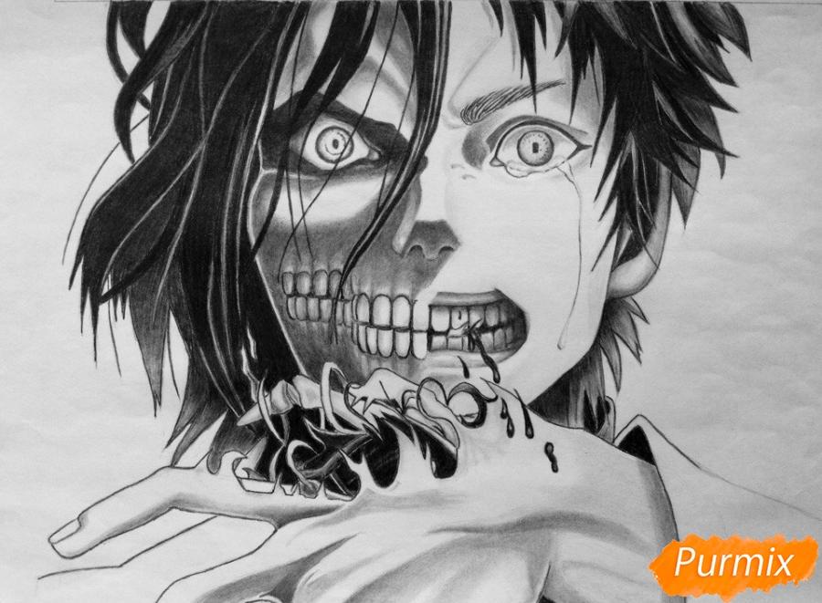 Рисуем Эрена Йегера из аниме Атака Титанов - шаг 8
