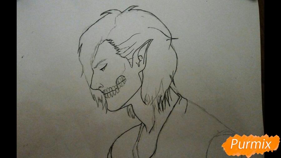 Рисуем Эрена Йегера в профиль в образе титана - шаг 4