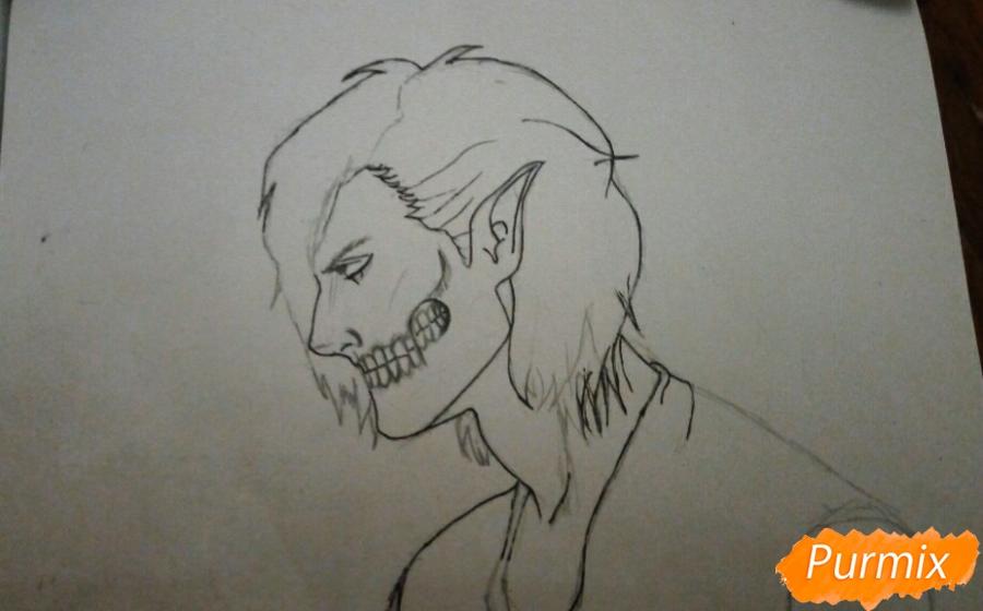 Рисуем Эрена Йегера в профиль в образе титана - шаг 5
