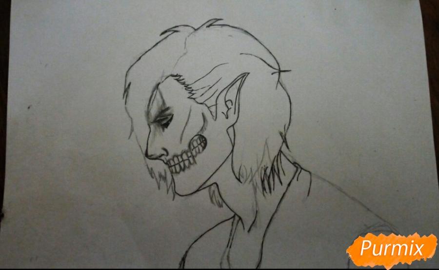Рисуем Эрена Йегера в профиль в образе титана - шаг 6