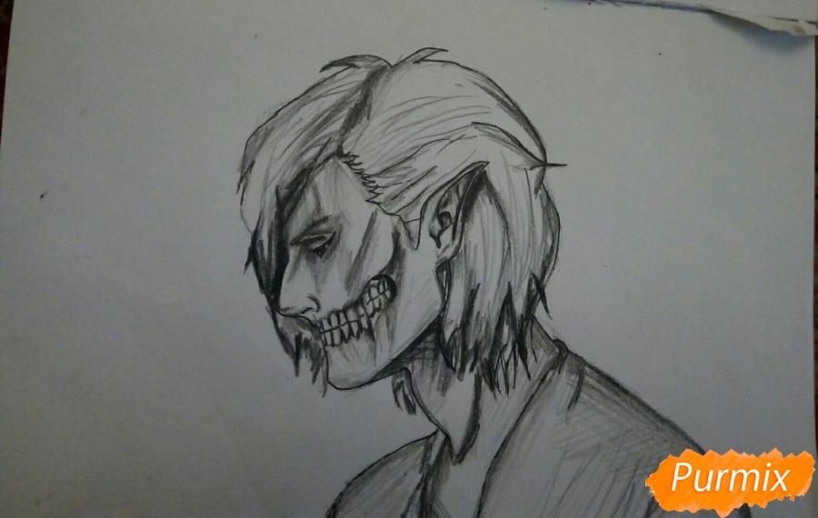 Рисуем Эрена Йегера в профиль в образе титана - шаг 8