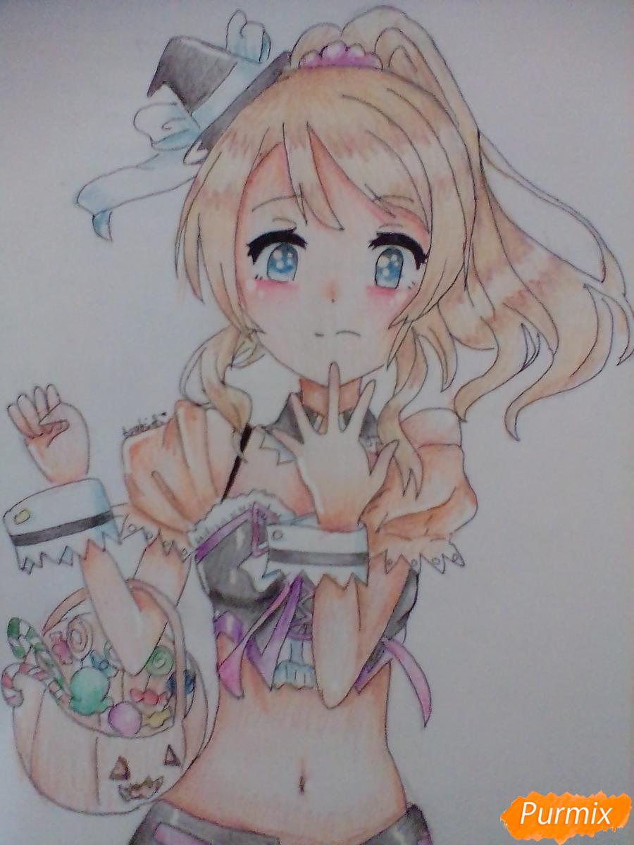 Как нарисовать Эри Аясе из аниме Live Love карандашами поэтапно