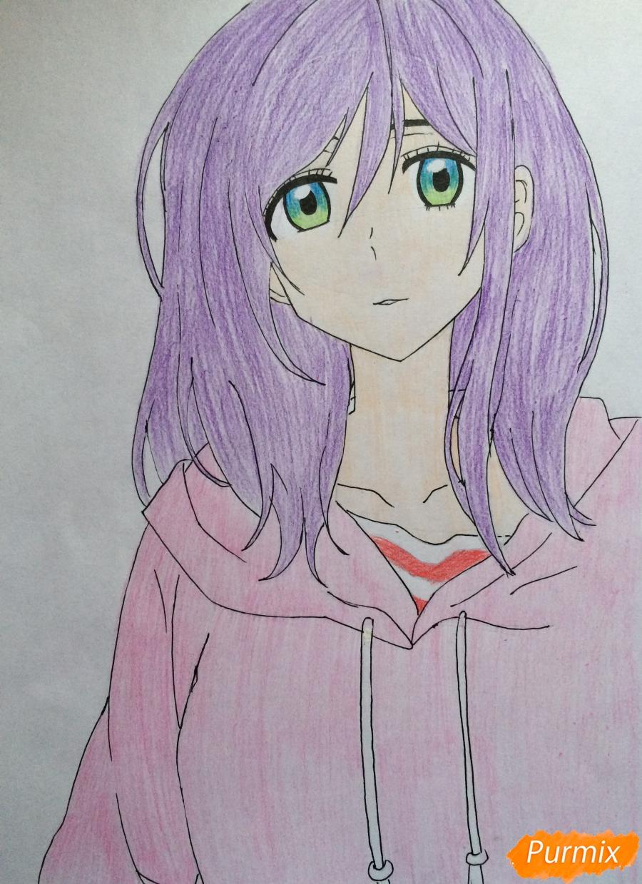 Рисуем и раскрасить Каэ Сэринуму из аниме Я требую яоя - шаг 7