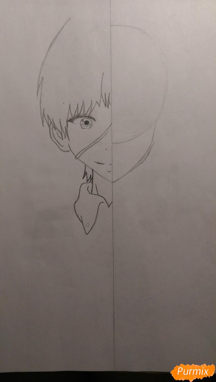 Рисуем Канеки Кена из аниме Токийский Гуль карандашами - шаг 3