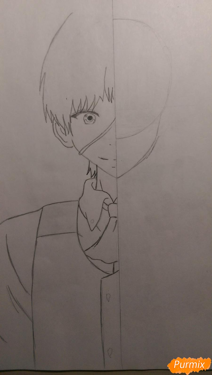 Рисуем Канеки Кена из аниме Токийский Гуль карандашами - шаг 4