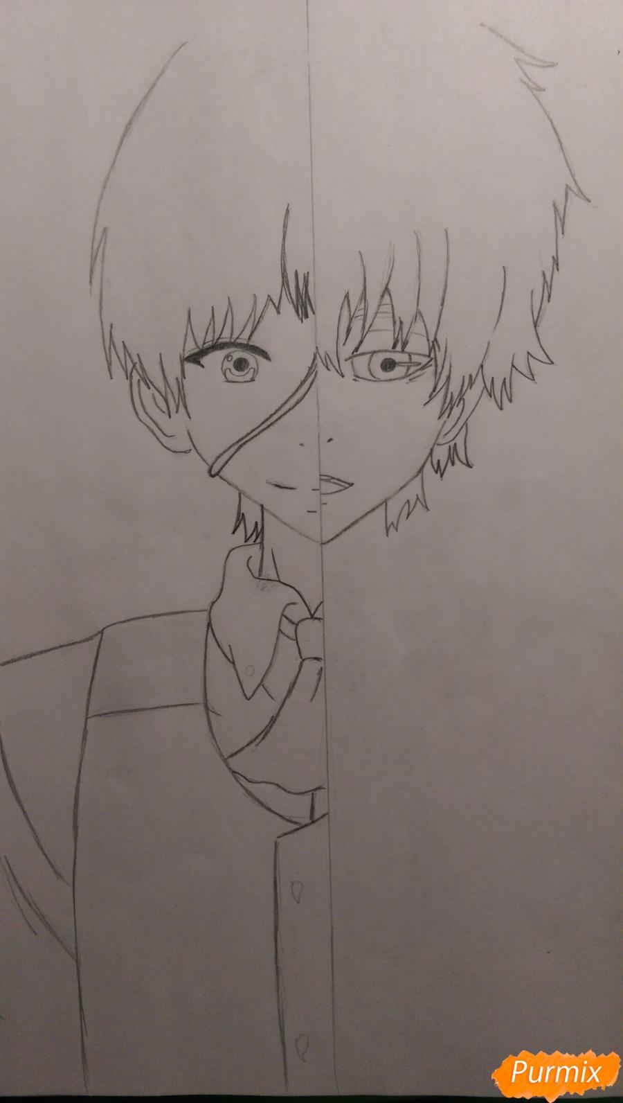 Рисуем Канеки Кена из аниме Токийский Гуль карандашами - шаг 6