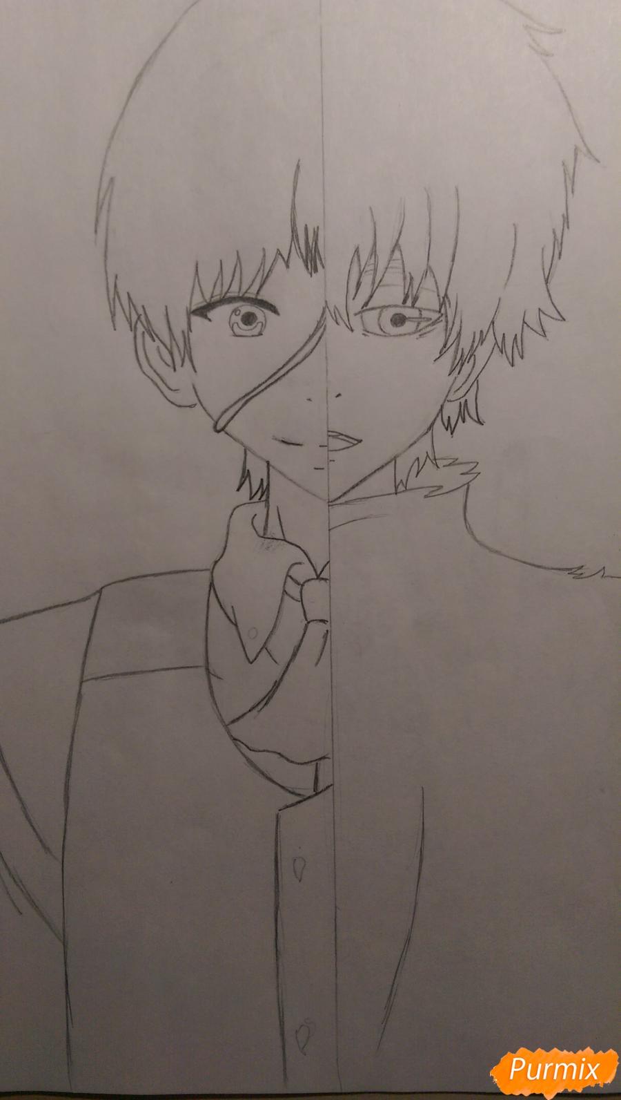 Рисуем Канеки Кена из аниме Токийский Гуль карандашами - шаг 7