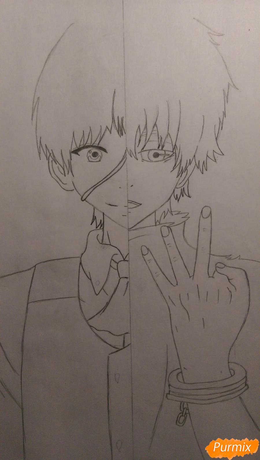 Рисуем Канеки Кена из аниме Токийский Гуль карандашами - шаг 8