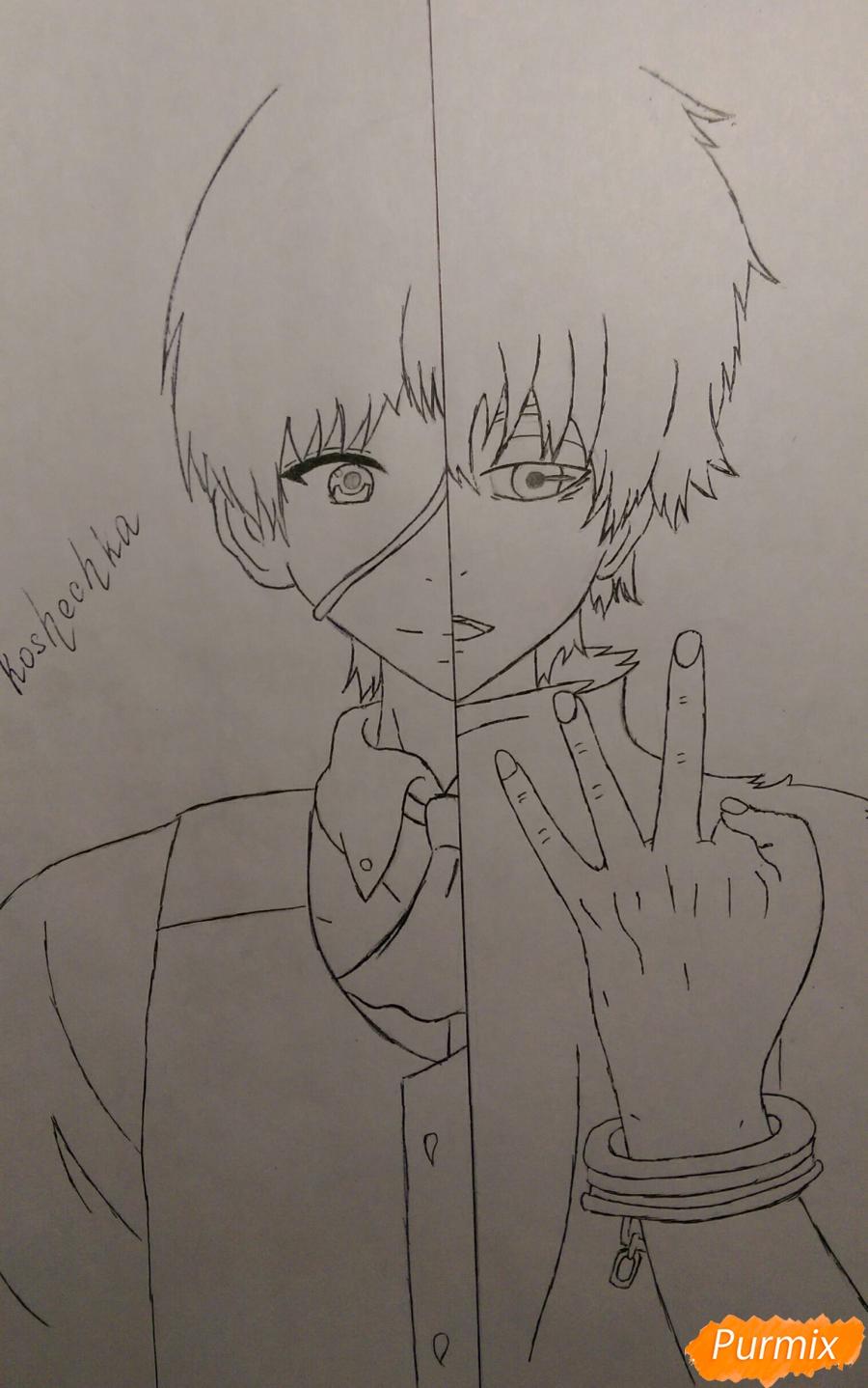 Рисуем Канеки Кена из аниме Токийский Гуль карандашами - шаг 9