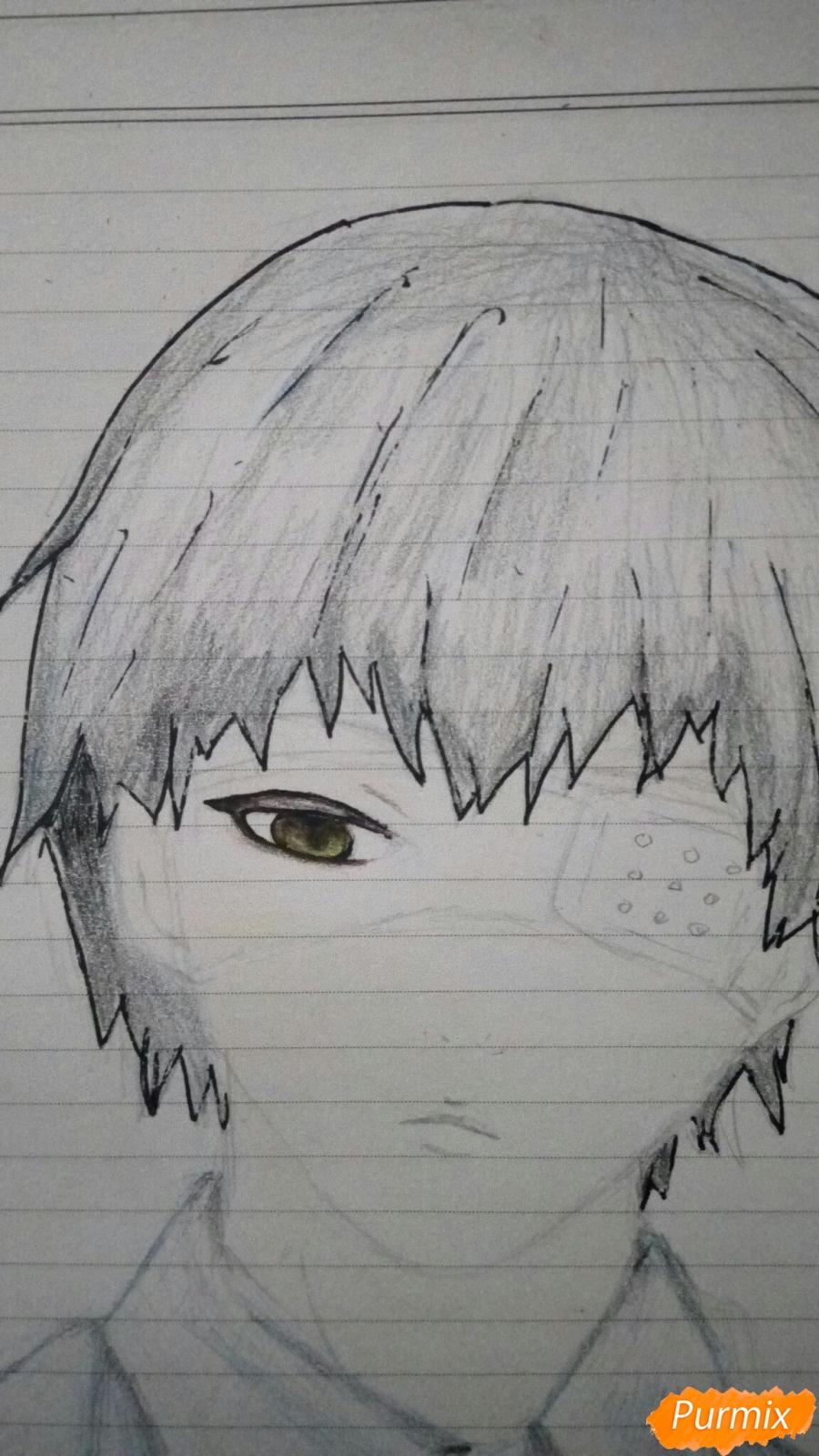 Рисуем Канеки в рубашке из аниме Токийский гуль - фото 10