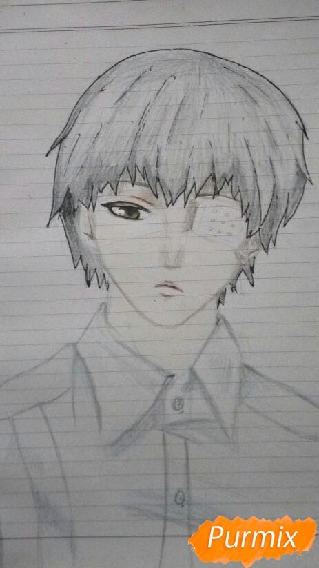 Рисуем Канеки в рубашке из аниме Токийский гуль - фото 11