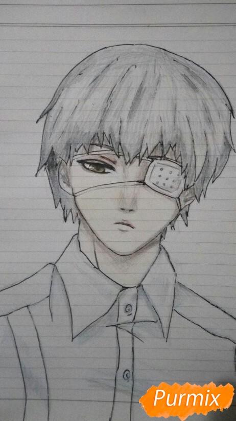 Как нарисовать Канеки в рубашке из аниме Токийский гуль