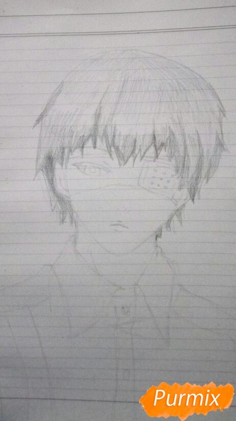 Рисуем Канеки в рубашке из аниме Токийский гуль - фото 4