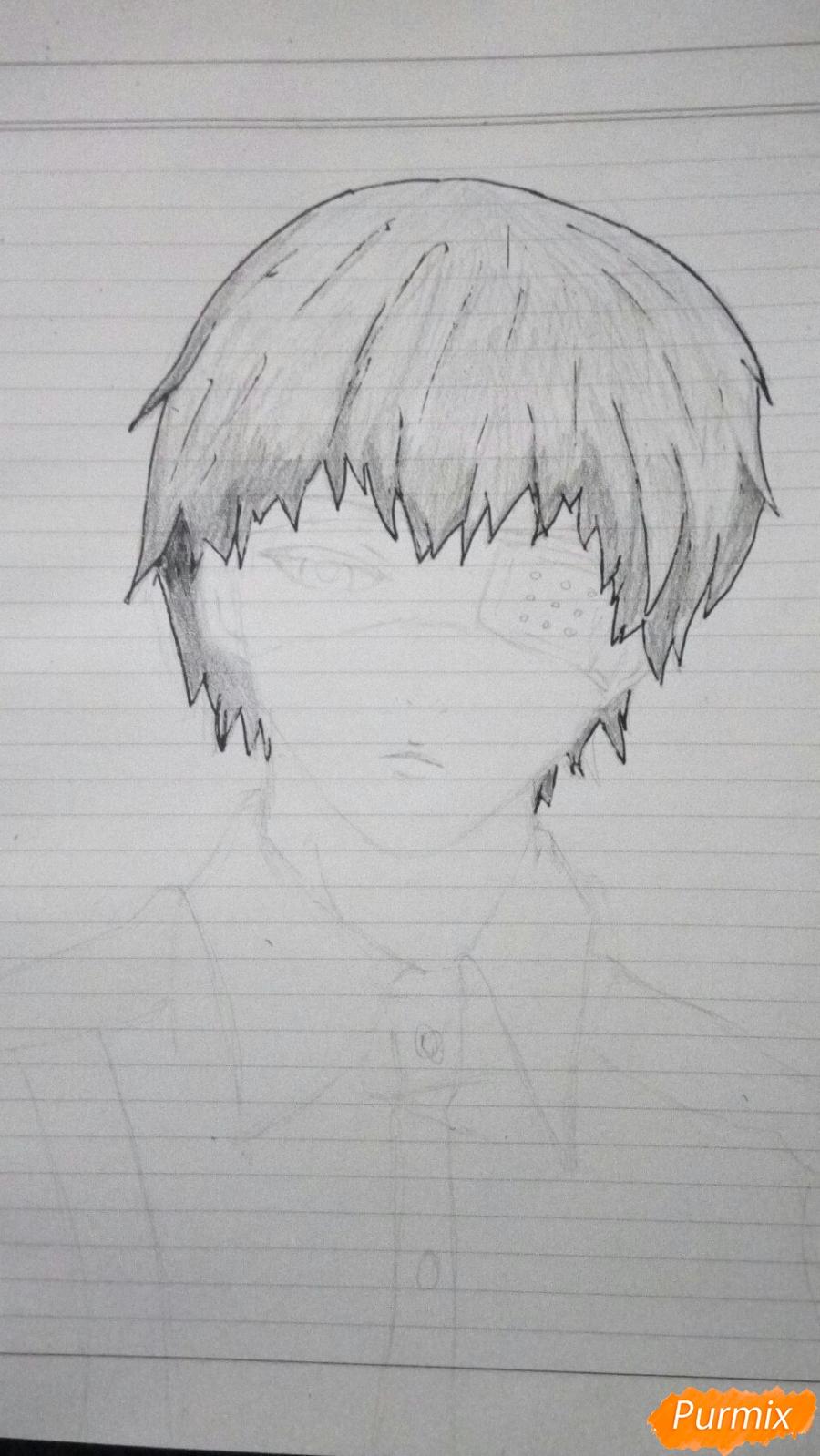 Рисуем Канеки в рубашке из аниме Токийский гуль - фото 5