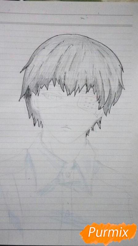 Рисуем Канеки в рубашке из аниме Токийский гуль - фото 6