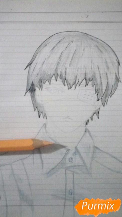 Рисуем Канеки в рубашке из аниме Токийский гуль - фото 7