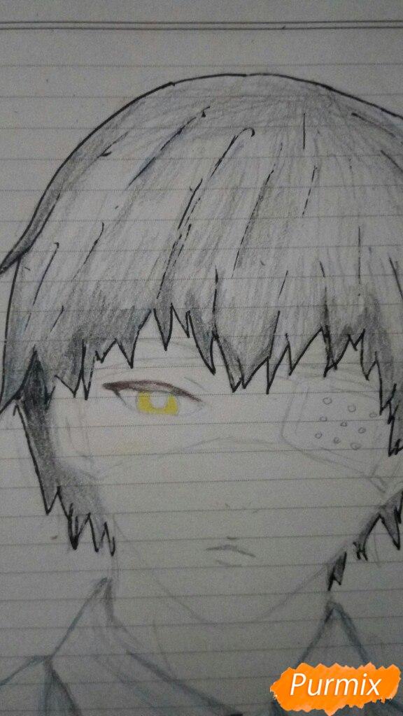 Рисуем Канеки в рубашке из аниме Токийский гуль - фото 8