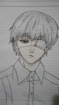 Рисунок Канеки в рубашке из аниме Токийский гуль