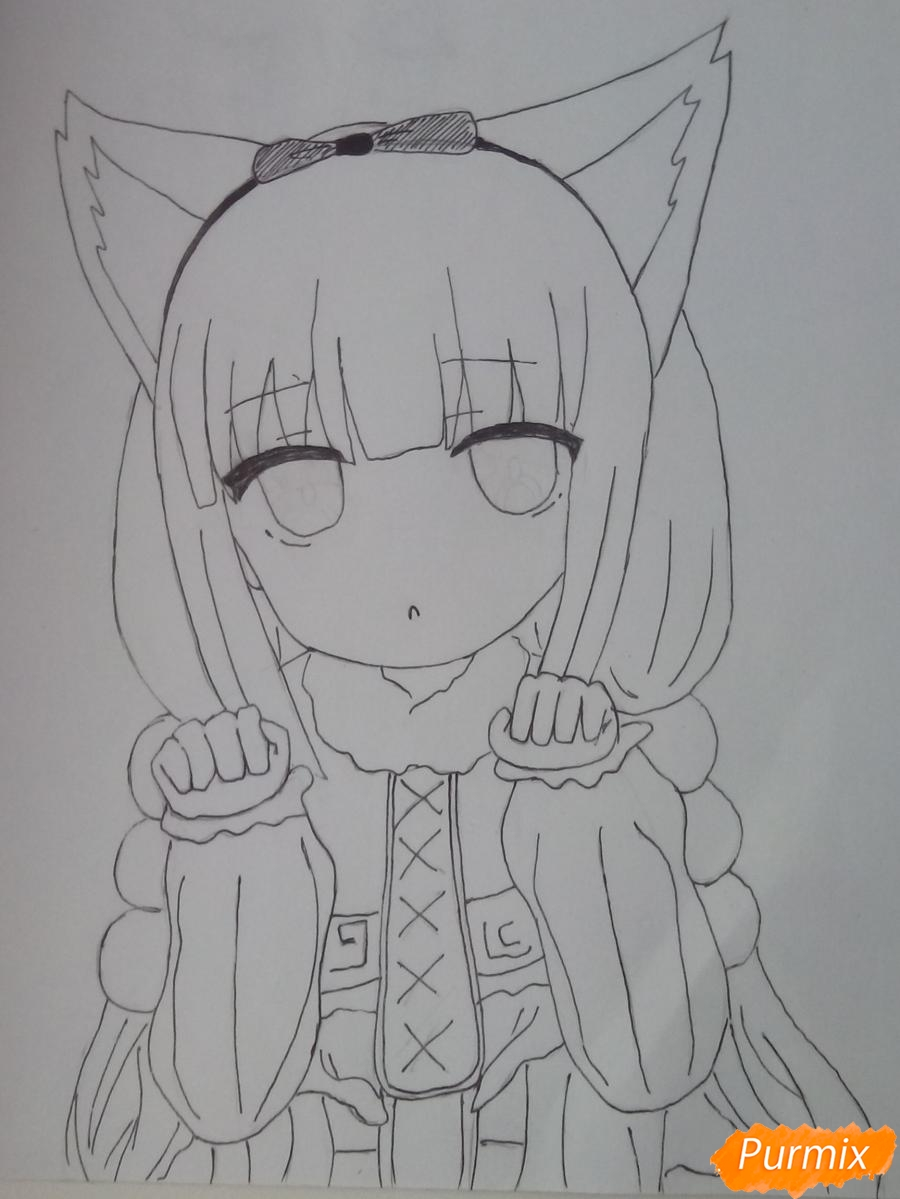 Рисуем Канну из аниме Дракон-горничная карандашами - фото 10