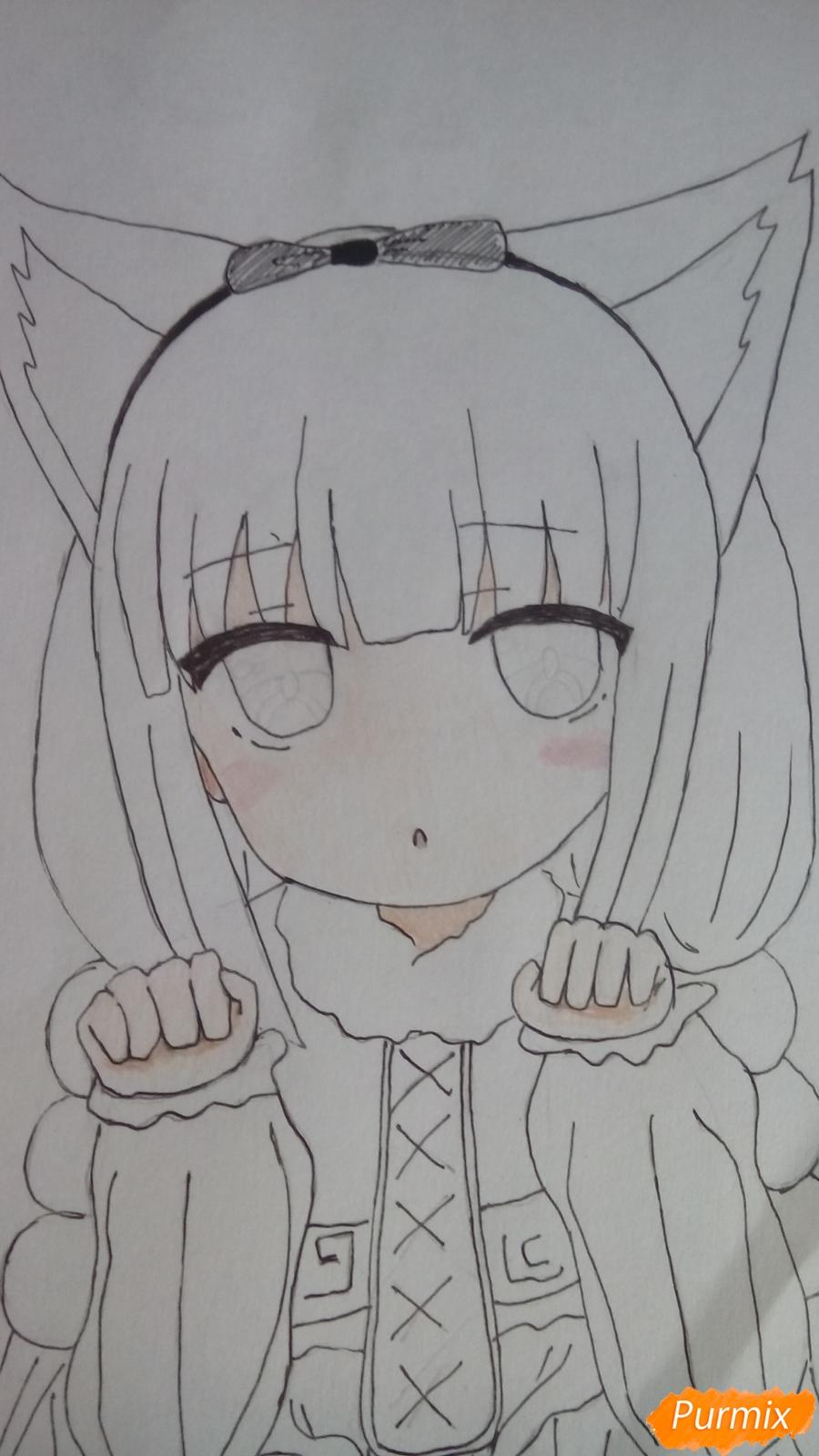 Рисуем Канну из аниме Дракон-горничная карандашами - фото 11