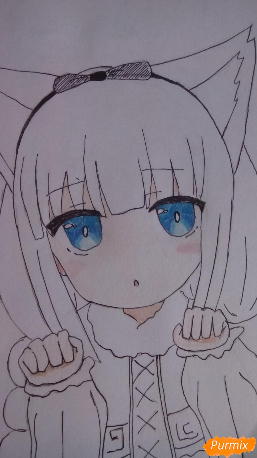 Рисуем Канну из аниме Дракон-горничная карандашами - шаг 12
